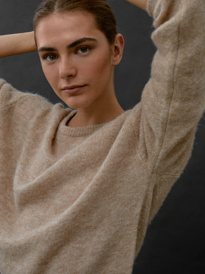 Round-Neck Knit Sweater, Beige, hi-res