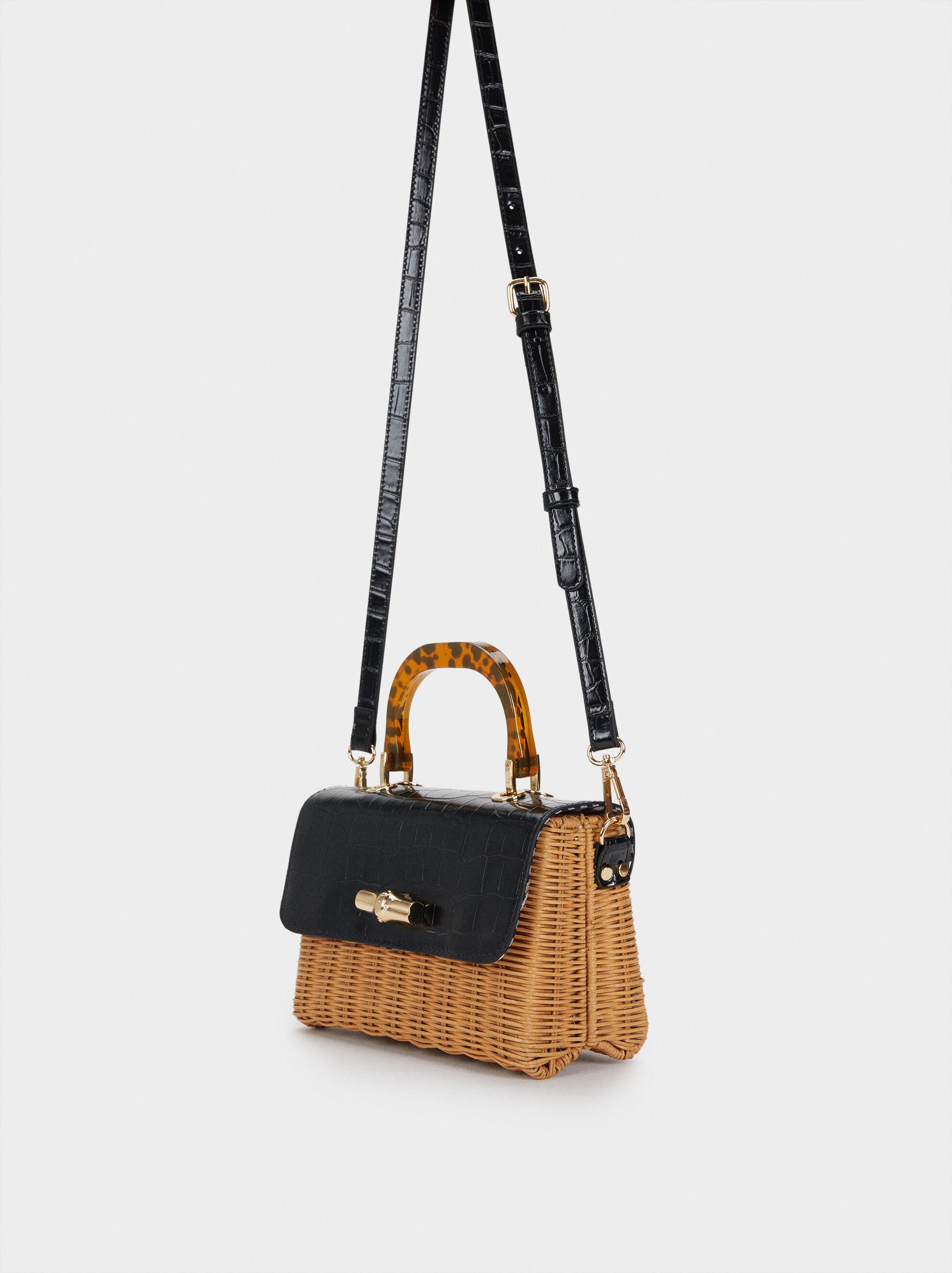 Straw Crossbody Bag With Flap, Camel, hi-res