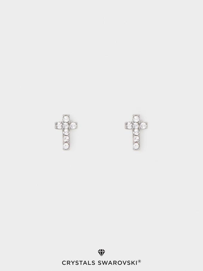Boucles D'Oreilles Courtes En Acier Avec Cristaux Swarovski, Argent, hi-res