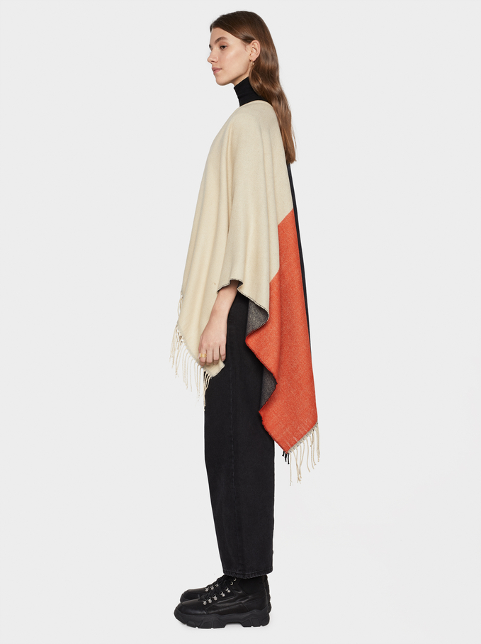 Colour Block Poncho With Fringe Trim, Multicolor, hi-res