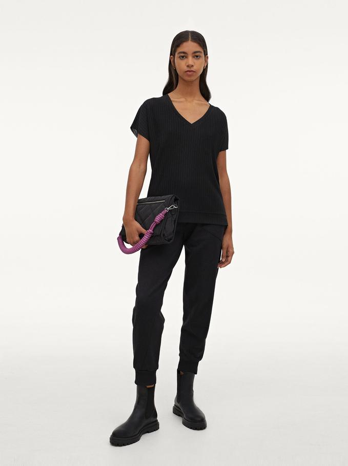 Camiseta Confeccionada Con Materiales Reciclados, Negro, hi-res