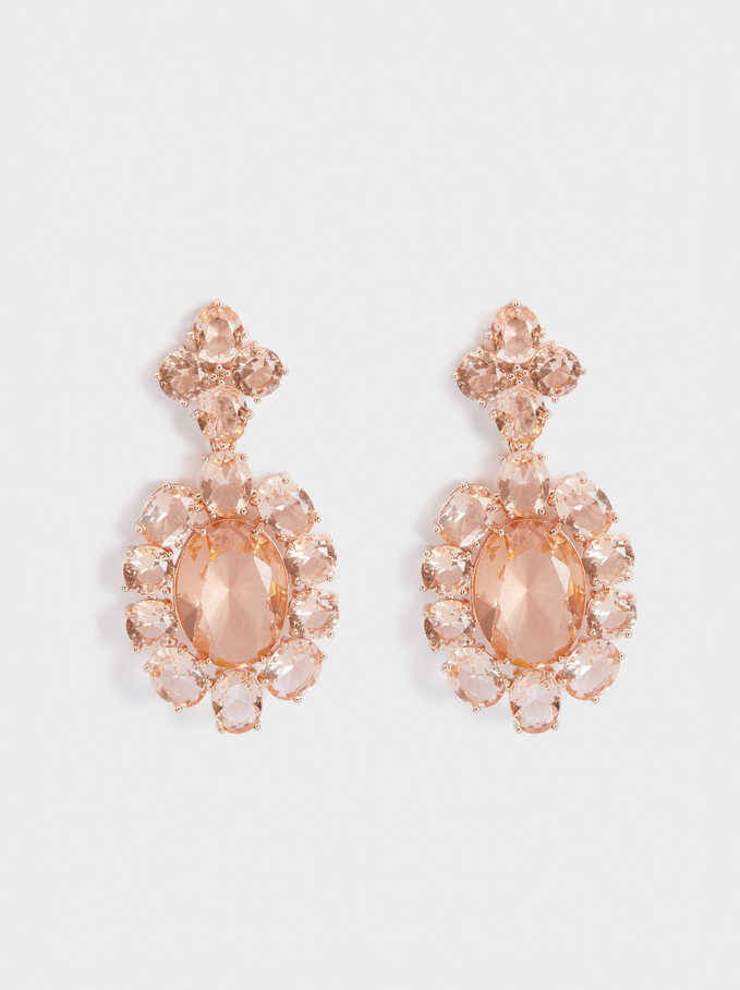 Long Earrings With Crystals, Orange, hi-res