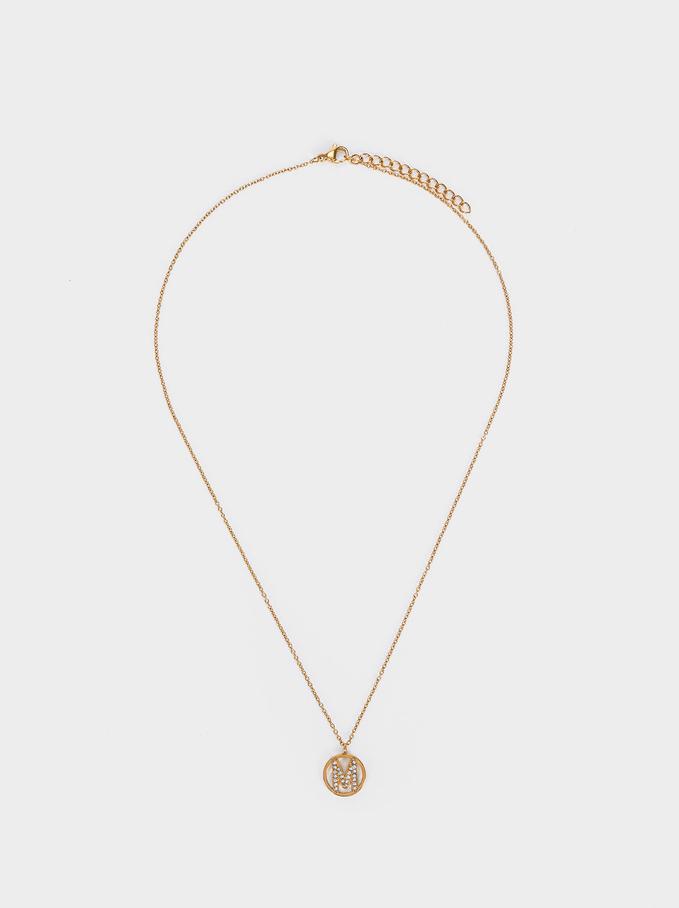 Short Steel Necklace With Letter M, Golden, hi-res