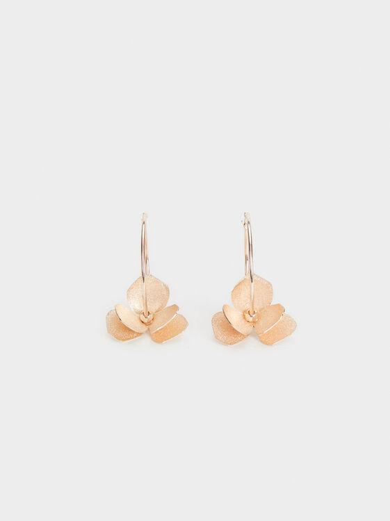 Pink Desert Large Flower Hoop Earrings, Orange, hi-res