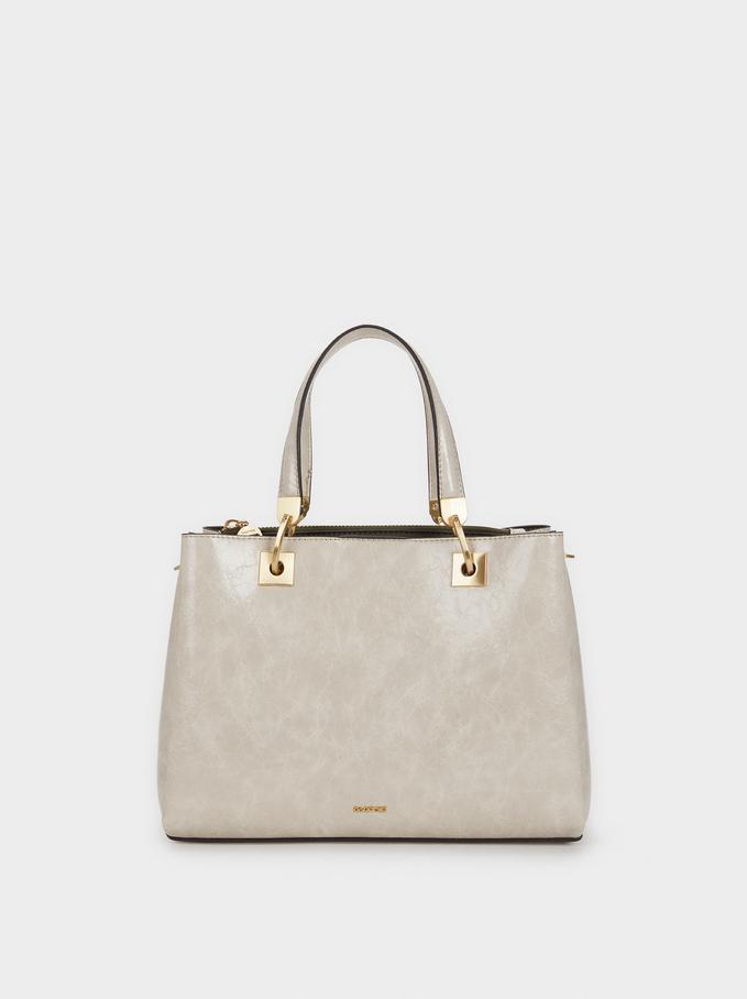 Tote Bag With Golden Details, Ecru, hi-res