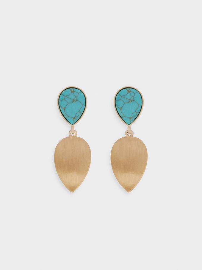 Lange Ohrringe Mit Edelstein, Blau, hi-res