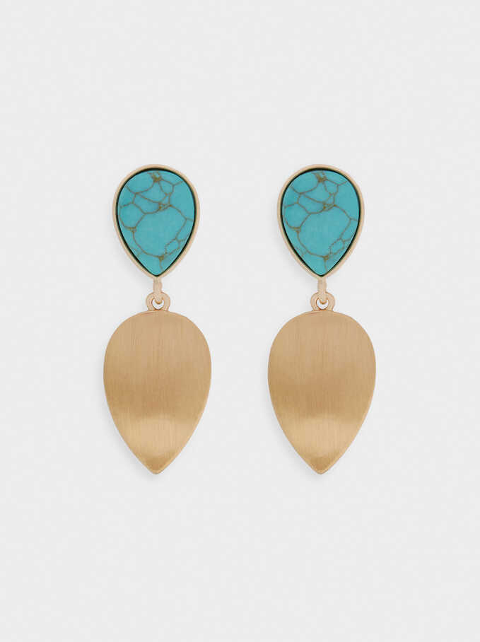 Long Earrings With Stone, Blue, hi-res