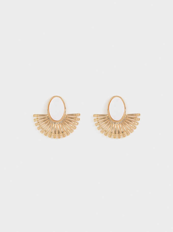 Small Earrings With Crystals, Golden, hi-res