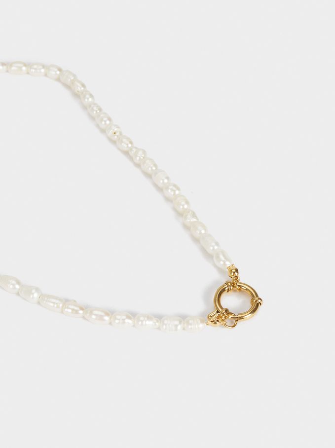 Stainless Steel Short Necklace With Pearls, Golden, hi-res
