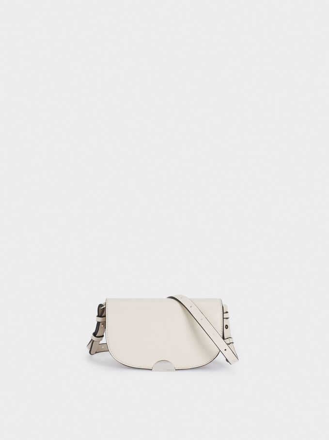 Crossbody Belt Bag With Front Flap Closure, White, hi-res