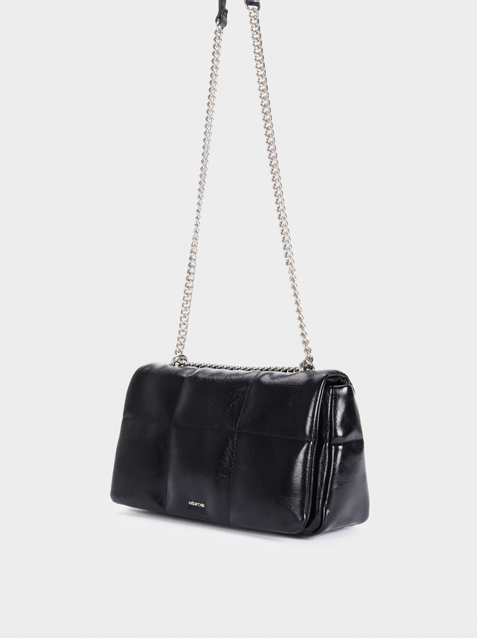 Crossbody Bag With Quilted Design, Black, hi-res