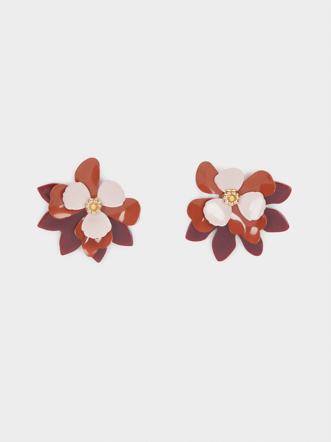 Short Earrings With Multicolour Flower, Multicolor, hi-res