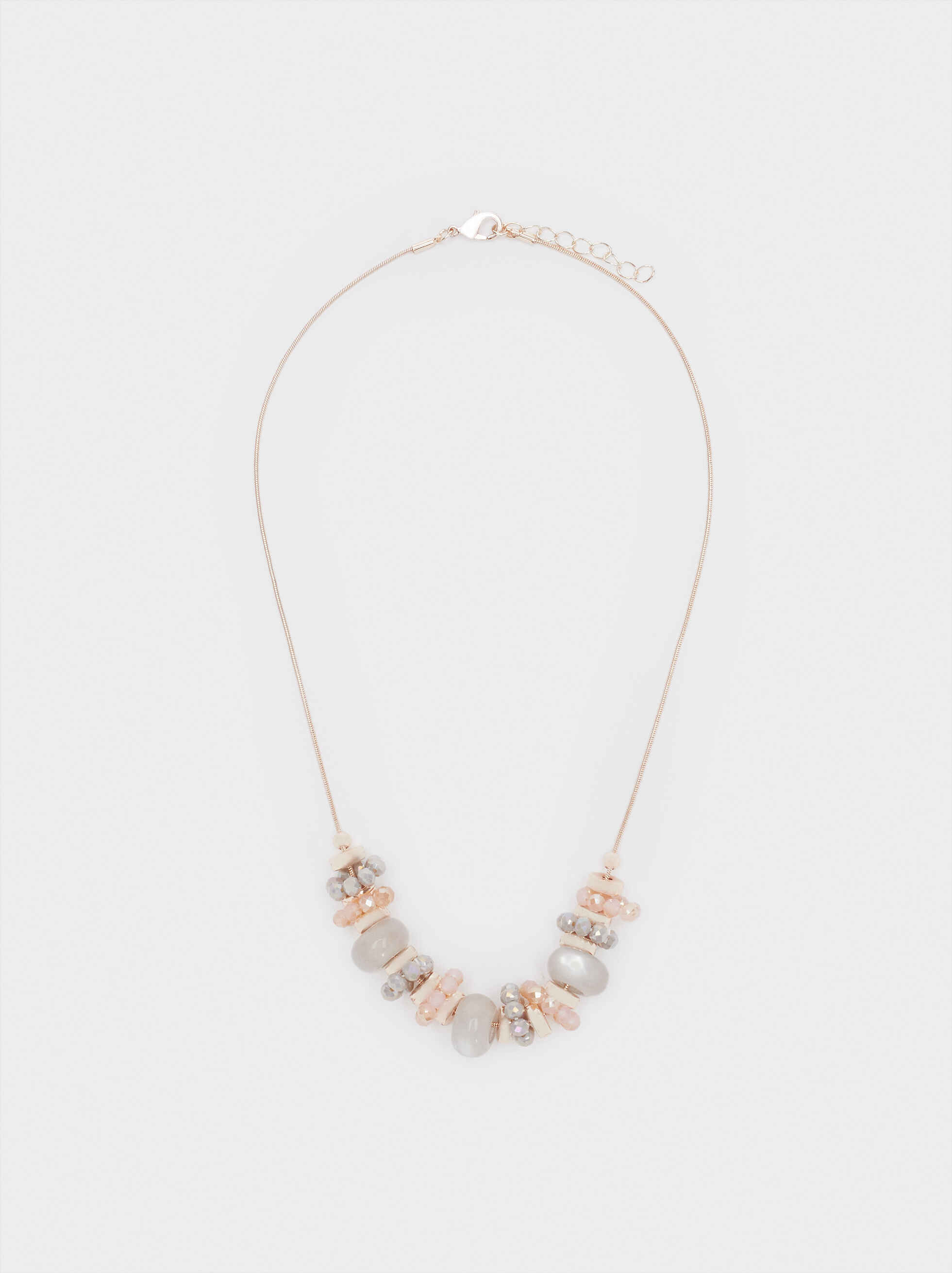 Short Rose Gold Necklace With Stones And Crystals, Orange, hi-res