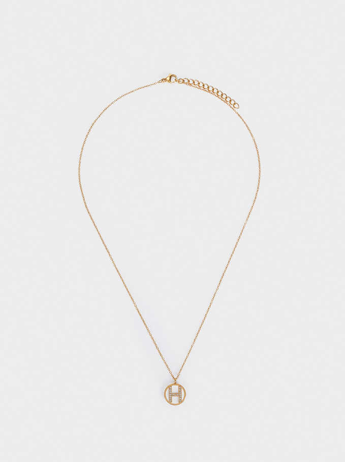 Short Steel Necklace With Letter H, Golden, hi-res