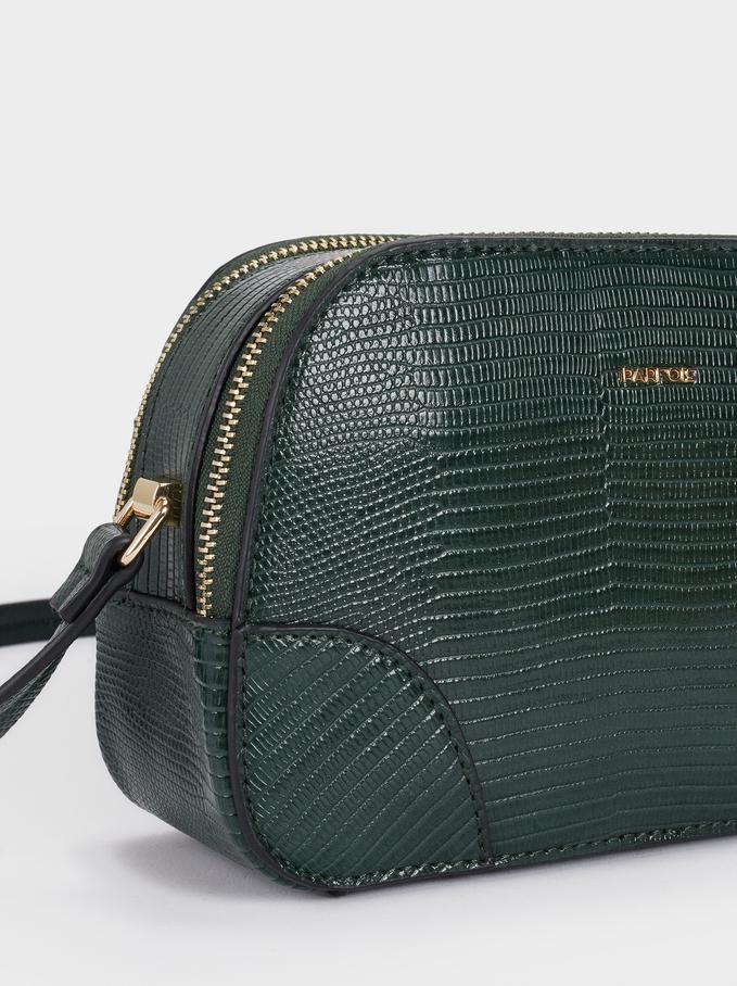 Crossbody Bag With Embossed Animal Print, Green, hi-res