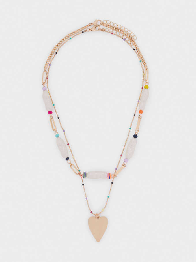 Set Of Contrasting Necklaces With Heart, Multicolor, hi-res