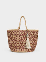 Raffia Effect Tote Bag, Red, hi-res