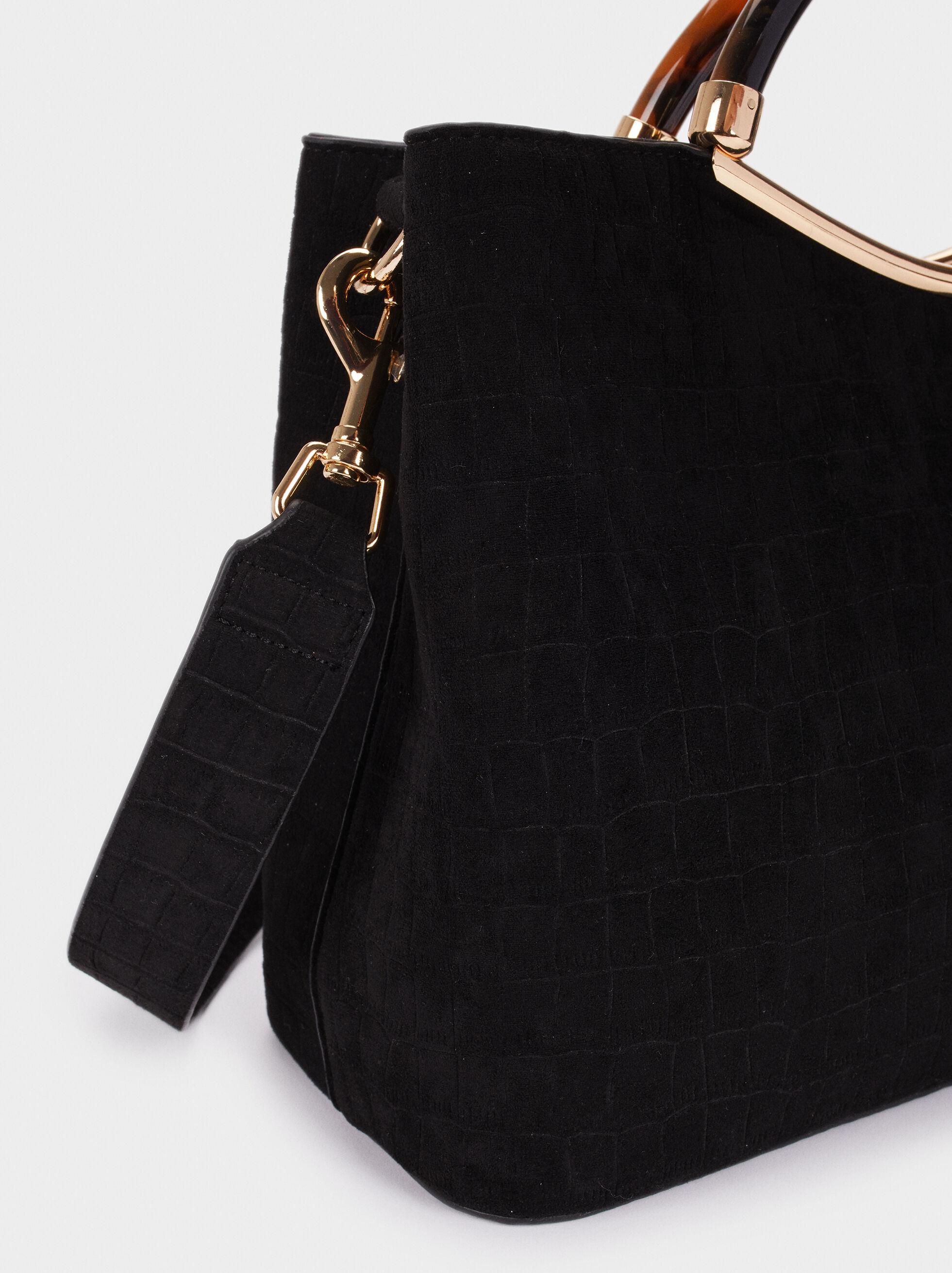 Fake Suede Tote Bag With Handle, Black, hi-res
