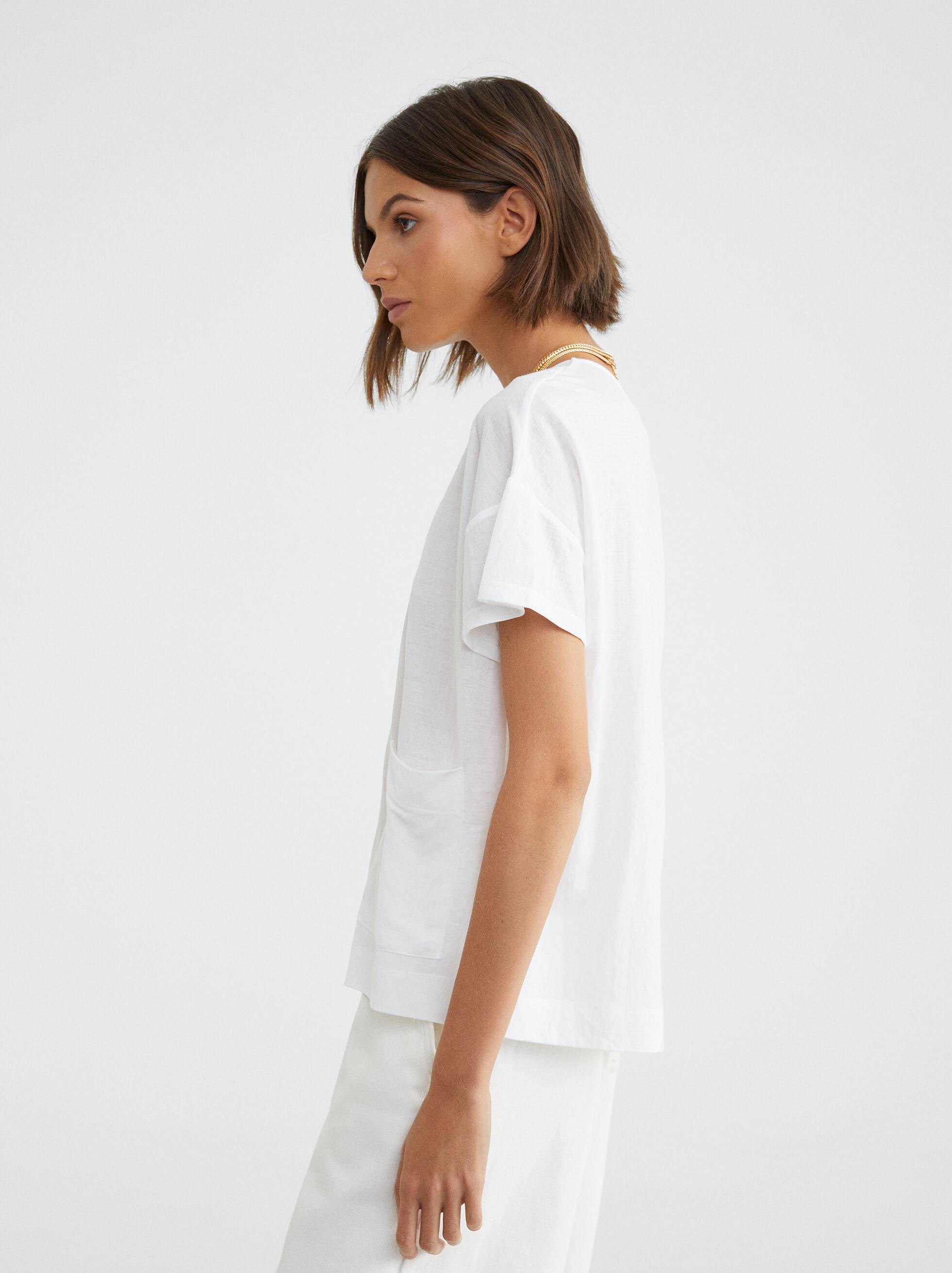 Basic Round-Neck T-Shirt, White, hi-res
