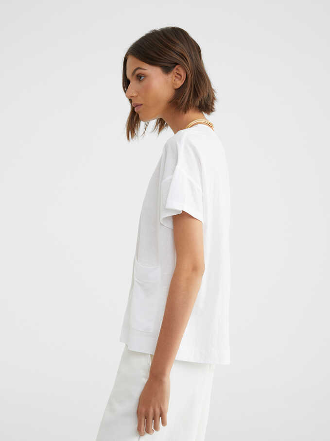 Basic Round-Neck T-Shirt, White, hi-res