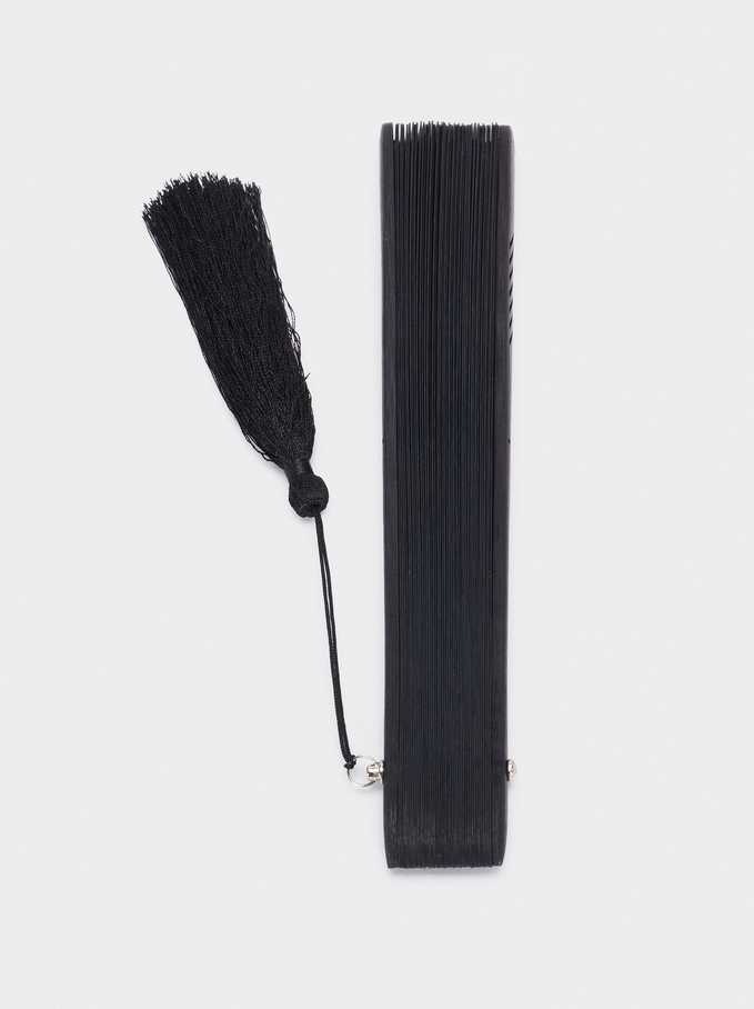 Perforated Fan With Tassel, Black, hi-res