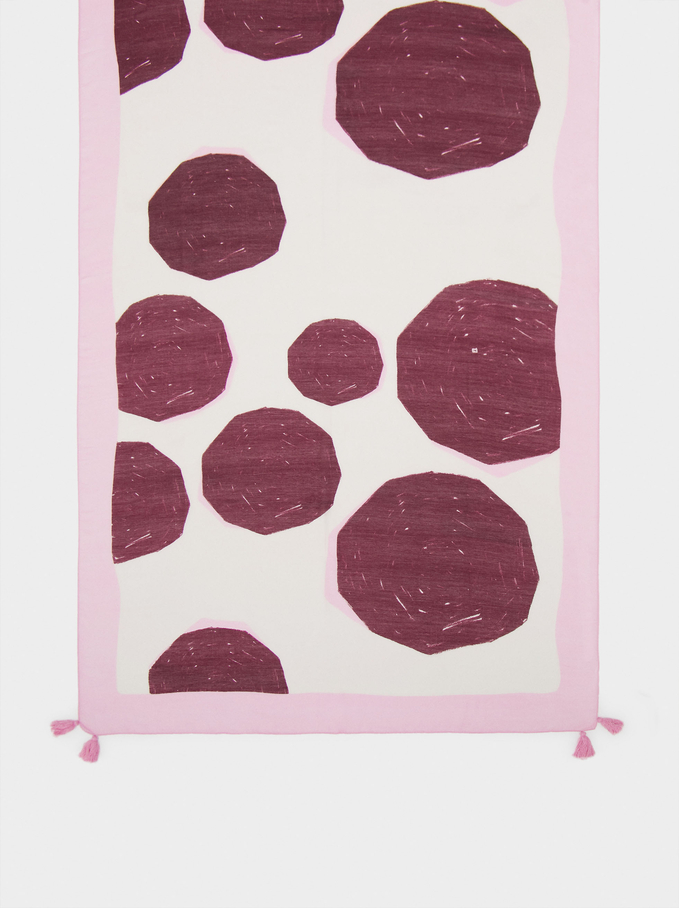 Printed Scarf With Pompoms, Pink, hi-res