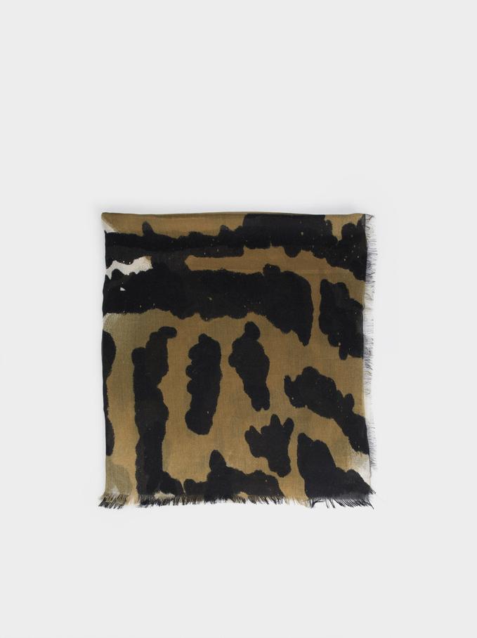 Animal Print Scarf, Khaki, hi-res