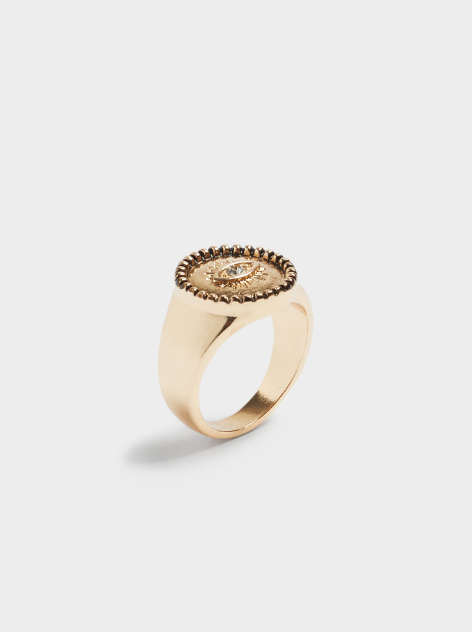 Signet Ring With Eye, Black, hi-res