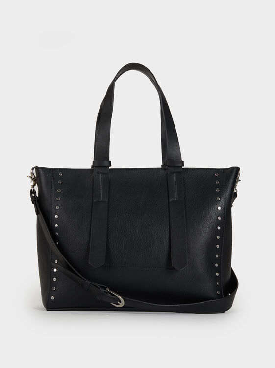 Online Exclusive Tote Bag With Studs, Black, hi-res