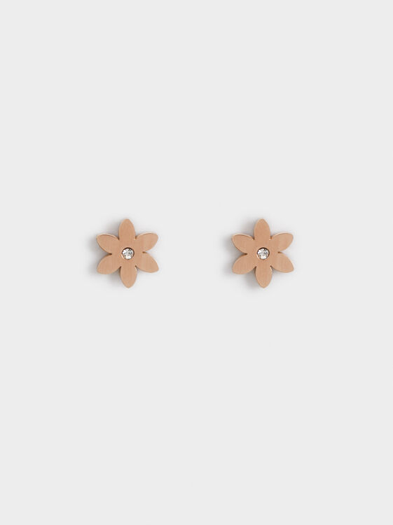 Steel Flower Earrings, Orange, hi-res