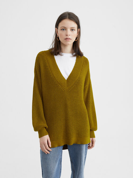 Knit Sweater, Khaki, hi-res