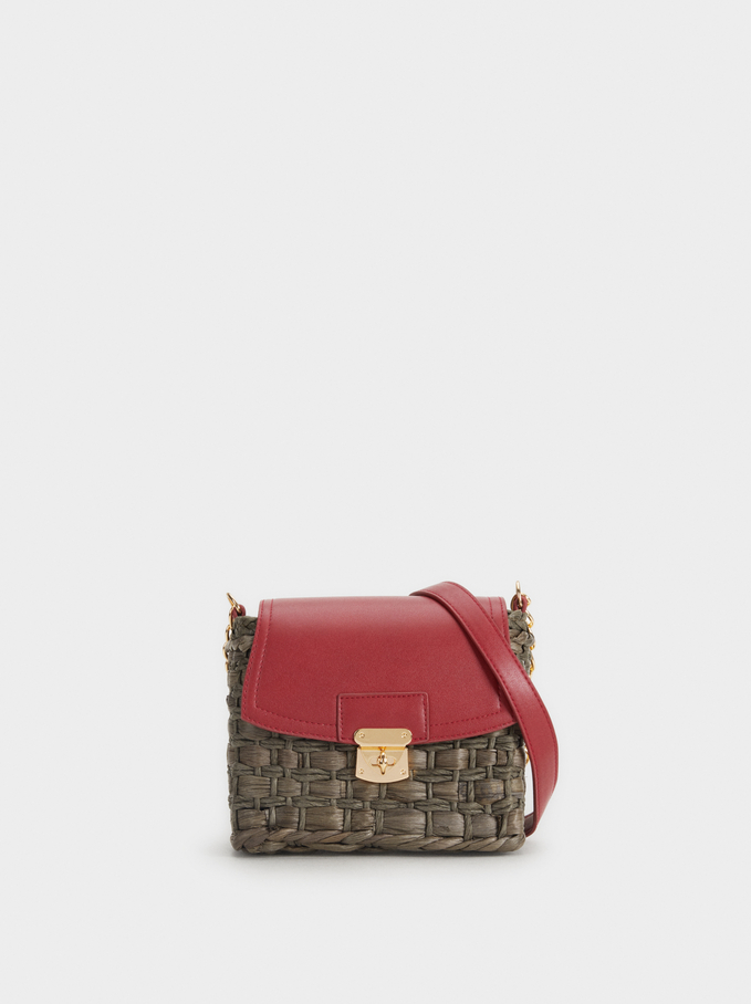 Straw Crossbody Bag, Bordeaux, hi-res