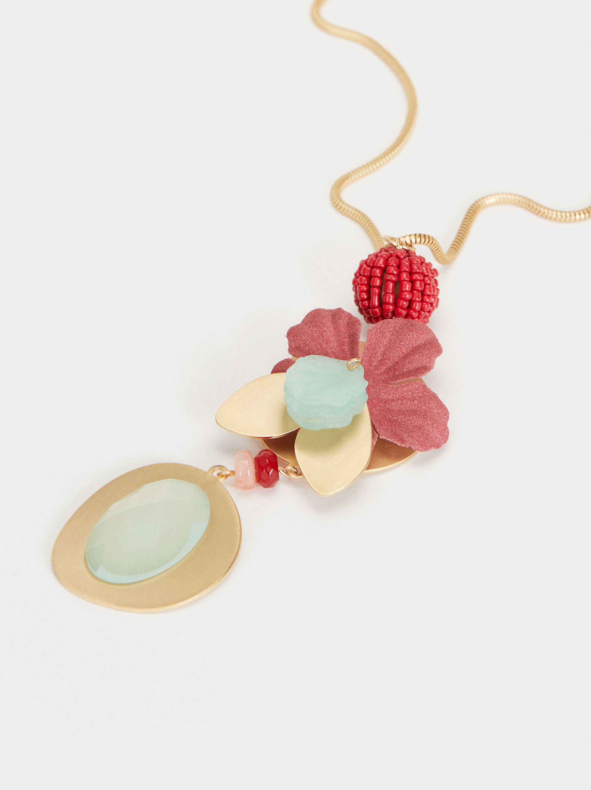 Cherry Blossom Long Necklace, Multicolor, hi-res