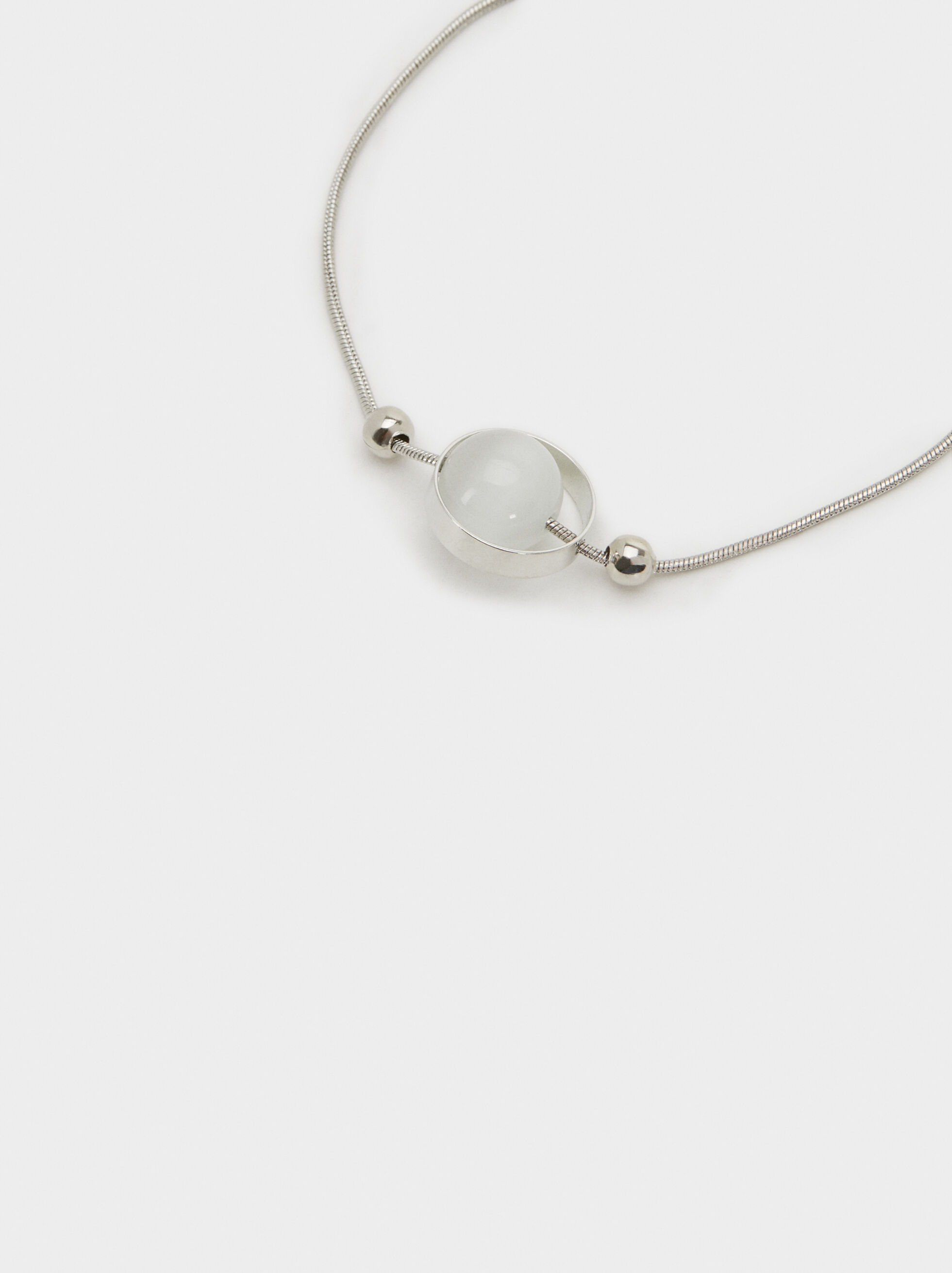 Adjustable Bracelet With Faux Pearl, Silver, hi-res