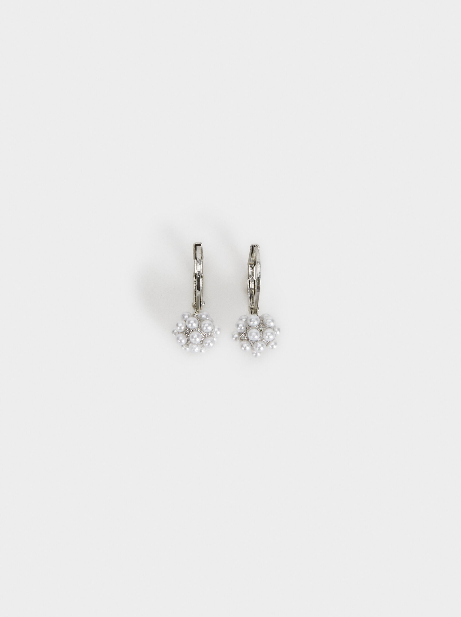 Short Faux Pearl Earrings, Beige, hi-res
