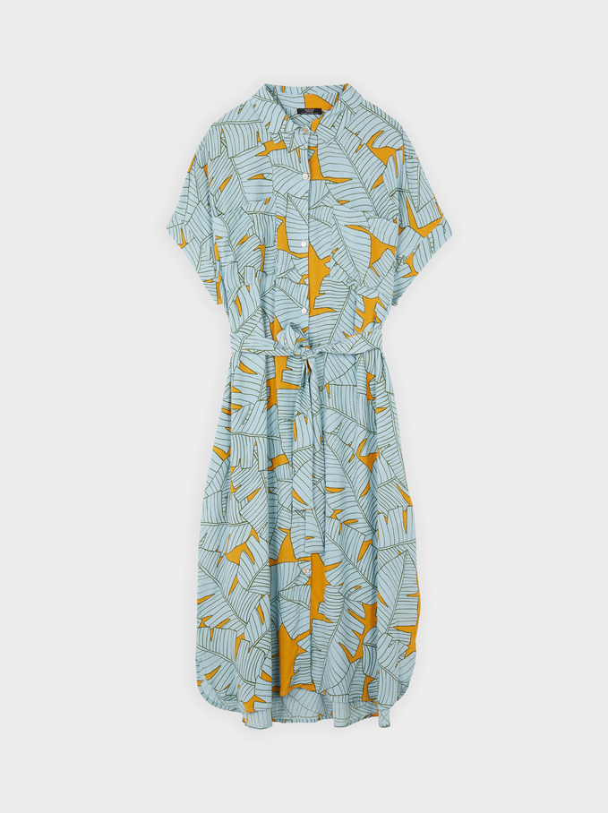 Leaf Print Shirt Dress, Green, hi-res