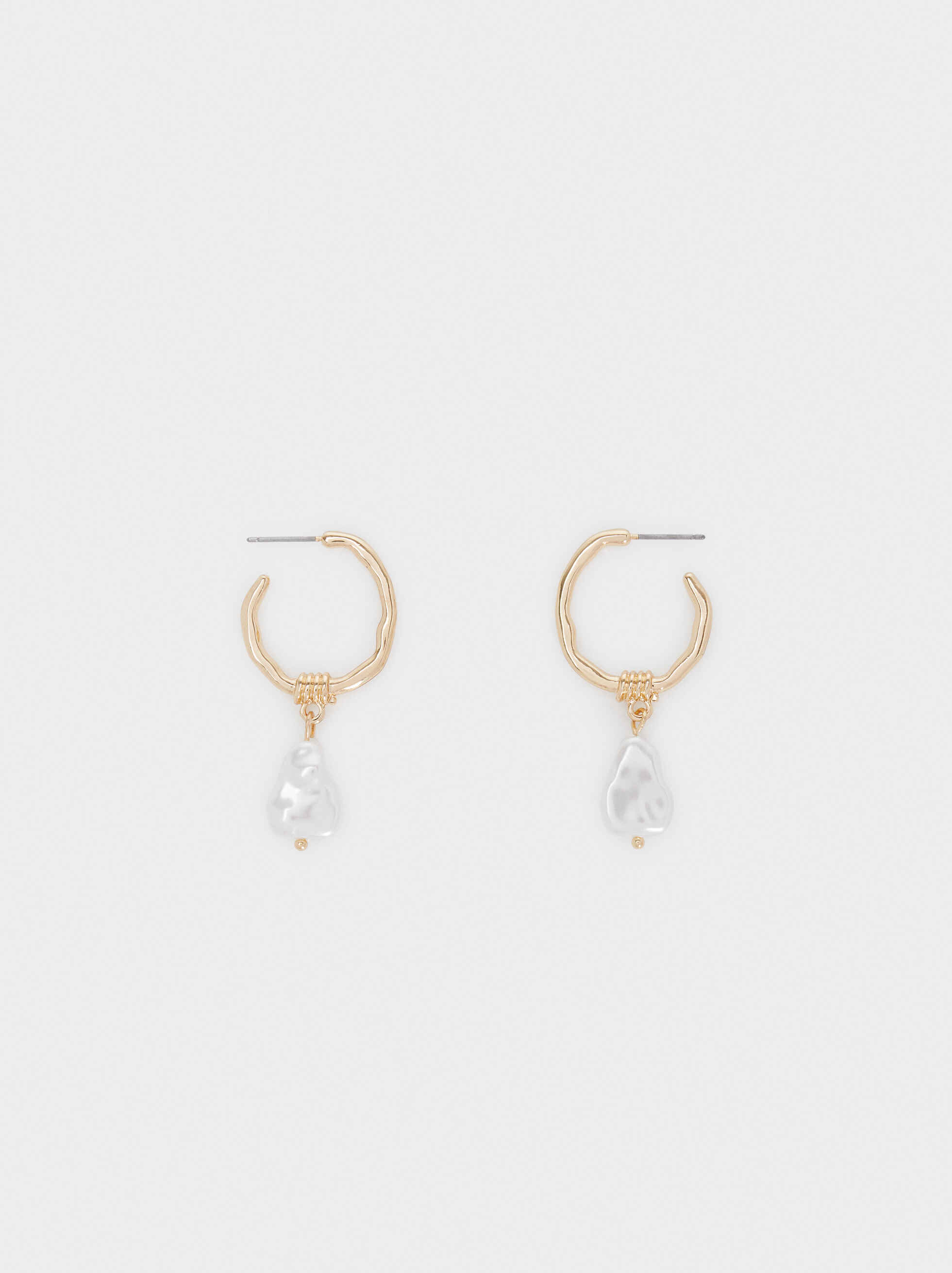 Medium Gold Earrings With Faux Pearl Detail, Golden, hi-res