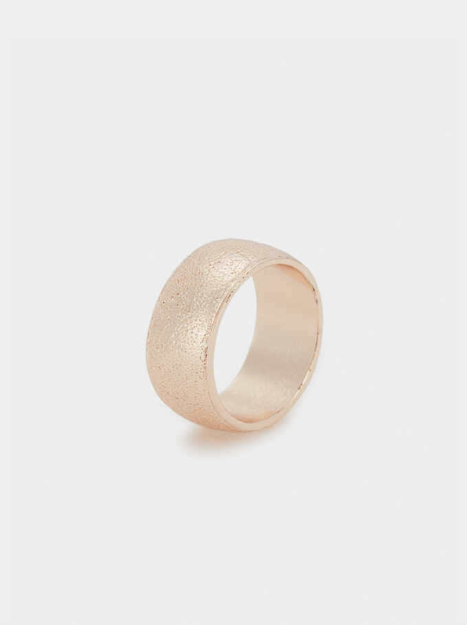 Hammered Rose Gold Band Ring, Orange, hi-res