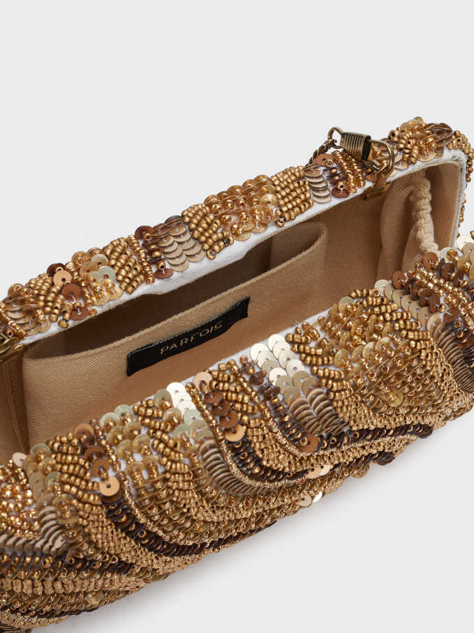 Beaded Party Clutch With Chain Necklace, Golden, hi-res