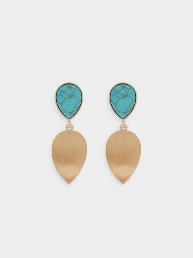 Long Earrings With Stone, Beige, hi-res