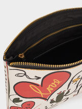 We Are Love Print Toiletry Bag, Black, hi-res