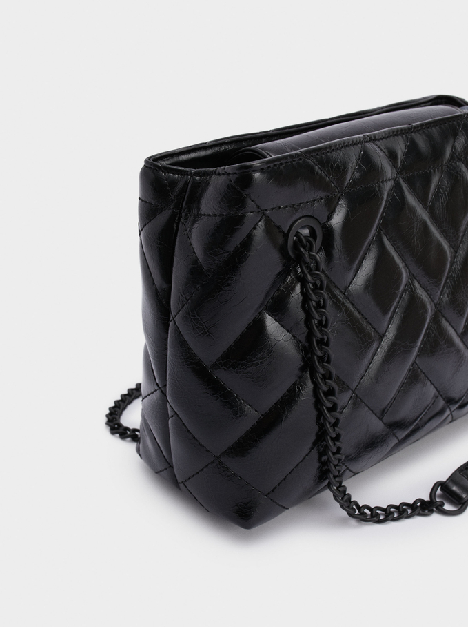 Quilted Shoulder Bag With Chain Handle, Black, hi-res