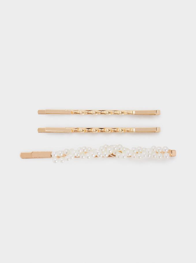 Faux Pearl Hairclip Set, Golden, hi-res
