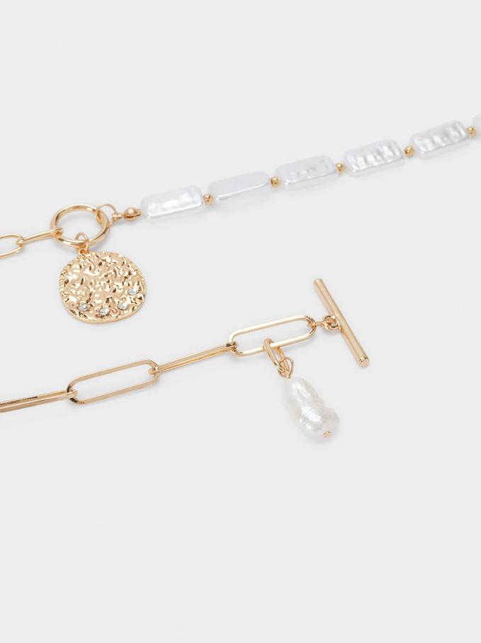 Collier Court Combiné Avec Perles Et Médaillon, Blanc, hi-res
