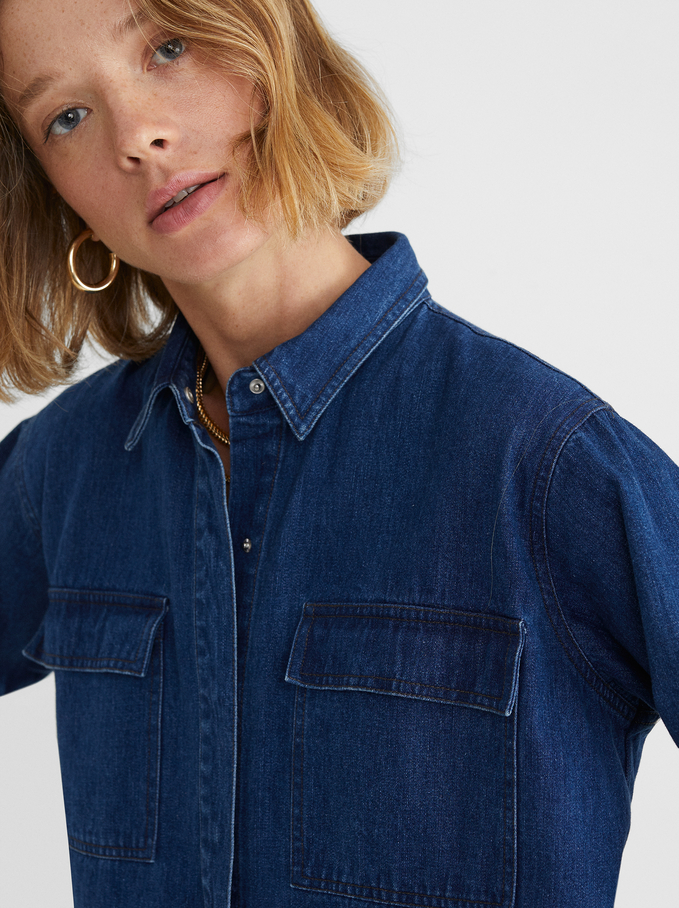 Denim Shirt With Pockets, Blue, hi-res