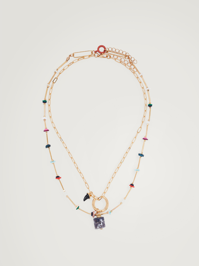 Set Of Necklaces With Horn And Beads, Multicolor, hi-res