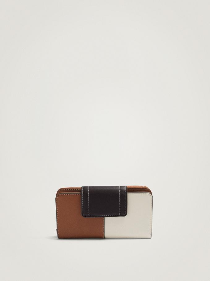 Patchwork Wallet With Removable Interior, Ecru, hi-res