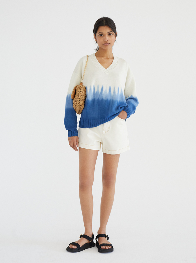 Limited Edition Round-Neck Knit Sweater, Blue, hi-res