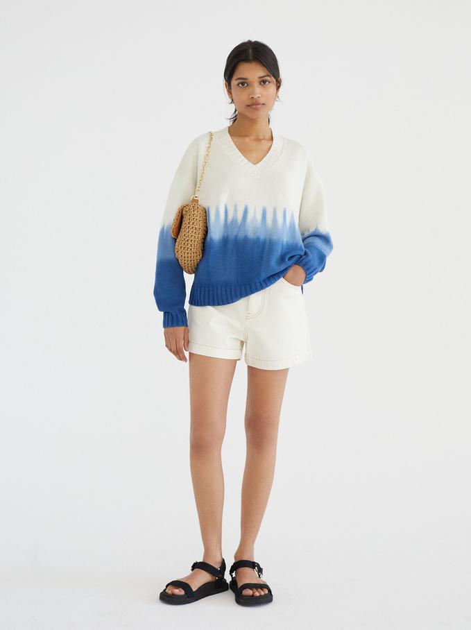 Camisola De Malha Com Decote Em Bico Limited Edition, Azul, hi-res