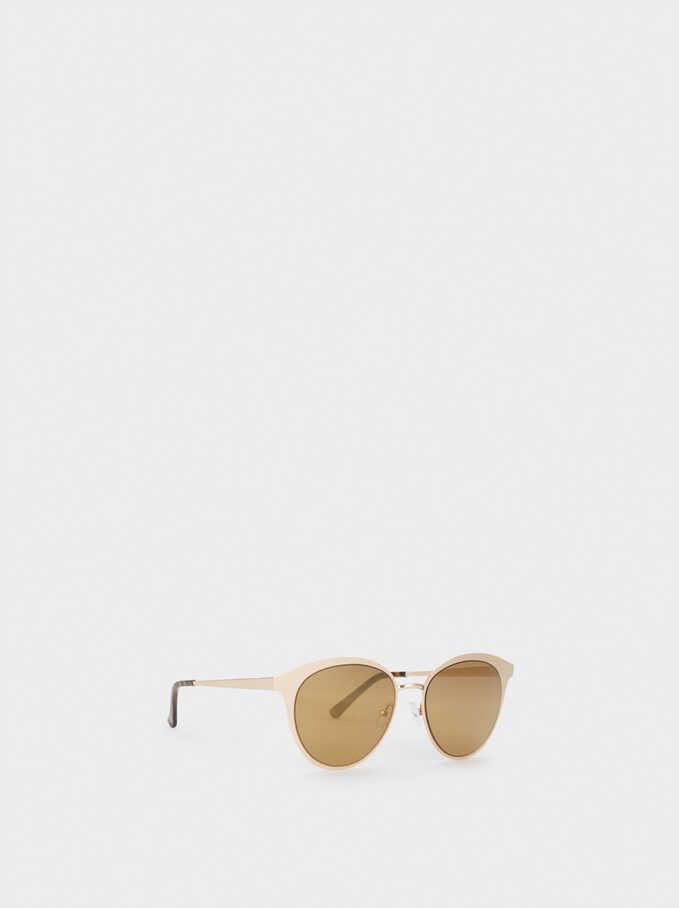 Metal Cat Eye Sunglasses, Golden, hi-res